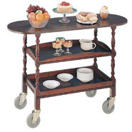 Two Tier Trolley, Sturdy castors with wipe clean laminate tops.