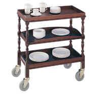 Clearing Trolley, Sturdy castors with wipe clean laminate tops.