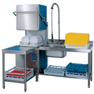 Pass-Through Dishwasher, Capacity: 1296 plates per hour (hot fill) or 1584 glasses per hour (hot