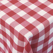 "Gingham Polyester - Red & White Check, Slip Cloth. 889 x 889mm (35 x 35"")."