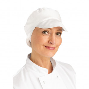 Whites Bakers Cap with Snood White