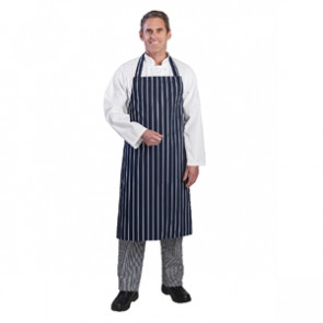Whites Butchers Apron Navy Stripe