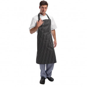 Whites Butchers Apron Black and White Stripe