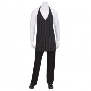 Uniform Works Unisex Tuxedo Bib Apron Black and White Pinstripe
