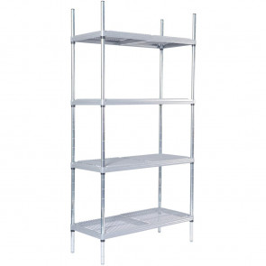 Craven 4 Tier Nylon Coated Wire Shelving With Pads 1700x1475x590mm