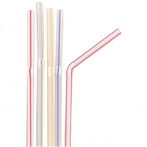 Fiesta Striped Flexible Straws