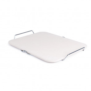 Rectangular Pizza Stone with Metal Serving Rack