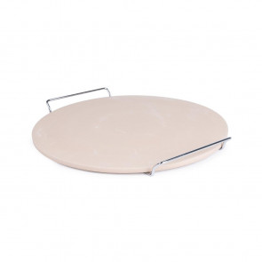Round Pizza Stone with Metal Serving Rack