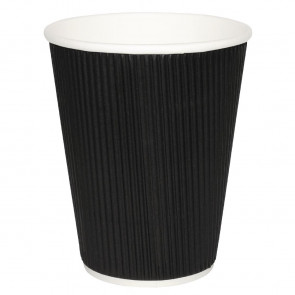Fiesta Takeaway Coffee Cups Ripple Wall Kraft Black 225ml x25
