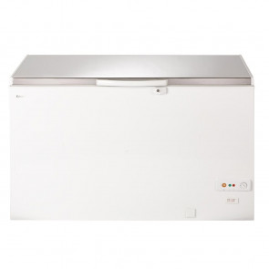 Lec White Chest Freezer with Stainless Steel Lid 400Ltr