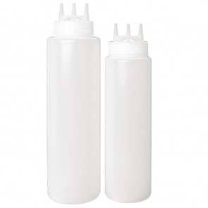 Vogue Clear 3 Nozzle Squeeze Bottle 24oz