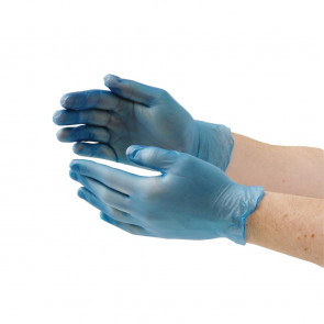 Vogue Vinyl Food Prep Gloves Blue Powder Free Medium