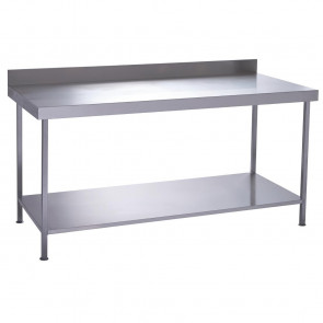 Parry Fully Welded Stainless Steel Wall Table with Undershelf 600x700mm