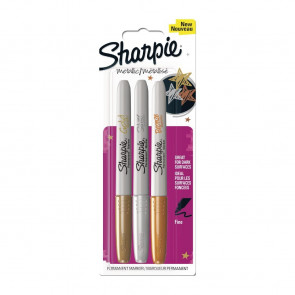 Sharpie Metallic Permanent Marker Fine Gold/Silver/Bronze 3 Pack