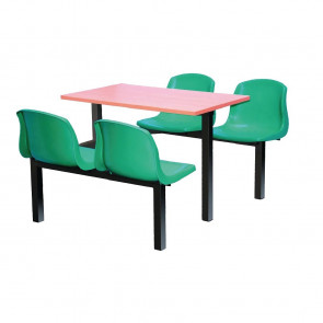 Bolero Four Seater Side Access Canteen Unit Beech and Green