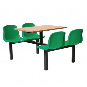 Bolero Four Seater Dual Access Canteen Unit Beech and Green