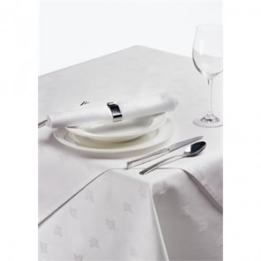 Damask Ivy Leaf White Tablecloth