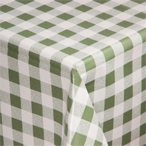 PVC Chequered Tablecloth Green 54in