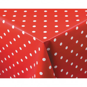 PVC Polka Dot Tablecloth Red 35in