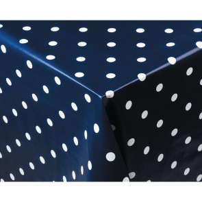 PVC Polka Dot Tablecloth Blue 35in