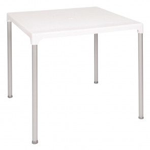 Bolero White Square Table with Aluminium Legs 750mm