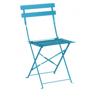 Bolero Pavement Style Steel Chairs Seaside Blue (Pack of 2)