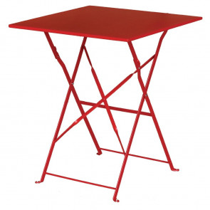 Bolero Red Square Pavement Style Steel Table