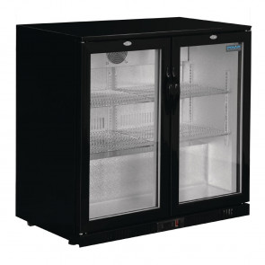 Polar Back Bar Cooler with Hinged Doors in Black 208Ltr