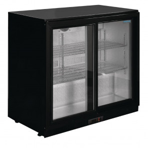 Polar Back Bar Cooler with Sliding Doors in Black 208Ltr