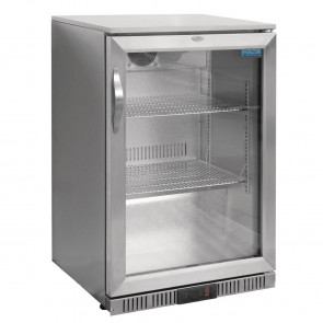 Polar Back Bar Cooler with Hinged Door in Silver 138Ltr