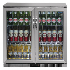Polar Back Bar Cooler with Hinged Doors in Silver 208Ltr