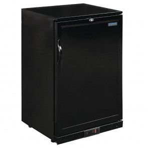 Polar Back Bar Cooler with Hinged Solid Door in Black 138Ltr