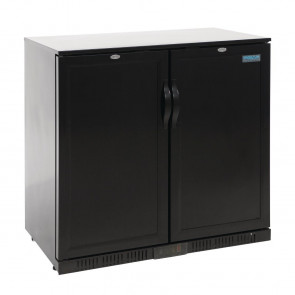 Polar Back Bar Cooler with Hinged Solid Door in Black 208Ltr