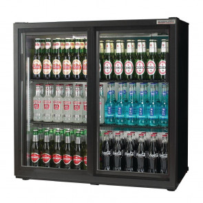 Autonumis Popular Double Sliding Door 3Ft Back Bar Cooler Black A21512