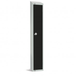 Elite Single Door Camlock Locker with Sloping Top Black