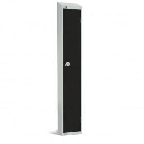 Elite Single Door Padlock Locker with Sloping Top Black