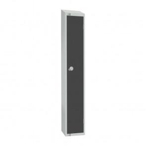 Elite Single Door Camlock Locker Graphite Grey with Sloping Top